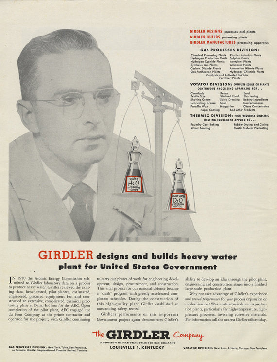 1955 The Girdler Company Louisville Kentucky 1950s Vintage Business Advertisement Retro Office Wall Art Decor