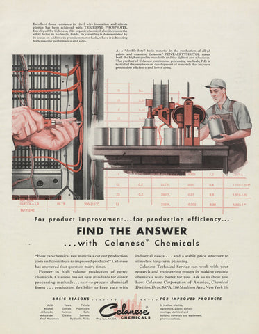 1955 Celanese Chemicals Vintage Advertisement Technical Service Engineer Illustration Print Ad Retro Office / Man Cave Wall Art Decor
