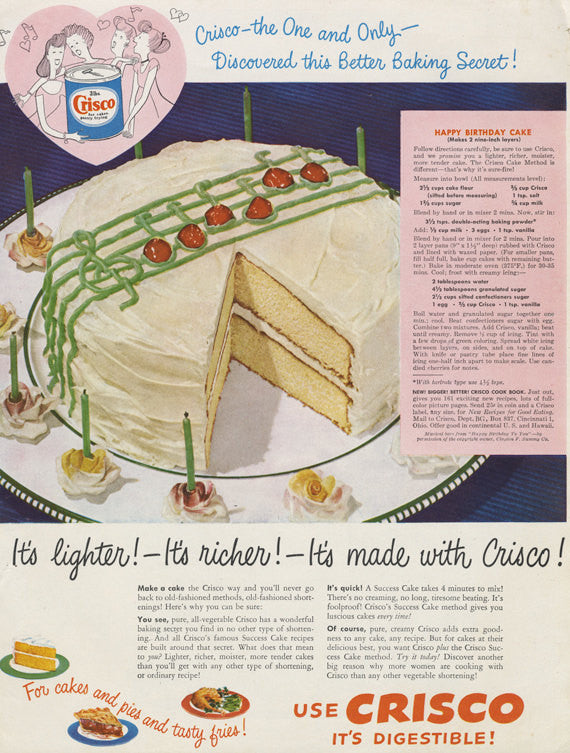1949 Crisco Vintage Advertisement Happy Birthday Cake Recipe Print Dessert Photo Mid Century Kitchen Patisserie Bakery Wall Art Decor