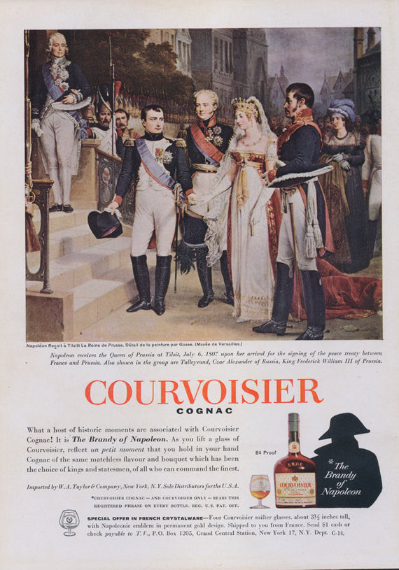 1962 Courvoisier Cognac Ad Napoleon Historical Illustration Art Vintage Liquor Advertisement Print Bar Pub Wall Art Decor