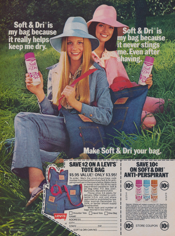1974 Soft & Dri Anti-Perspirant Ad Vintage Deodorant Advertisement Levi's Bag Promotion 70s Teen Girls Photo Bathroom Wall Art Decor Print