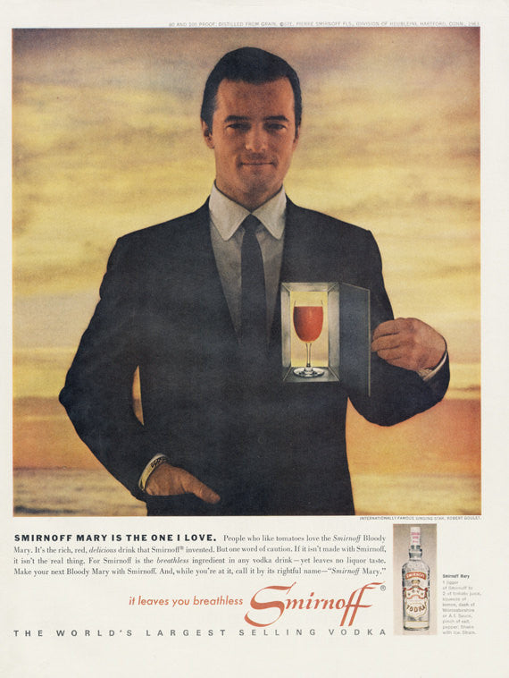 1963 Smirnoff Vodka Ad Vintage Liquor Advertisement Singing Star Robert Goulet Surreal Art Print Illustration Bloody Mary Cocktail Bar Art