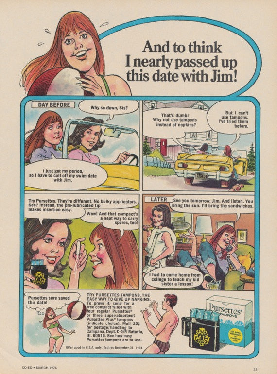 1974 Pursettes Tampons Ad Feminine Hygiene Products Comic Cartoon Funny Vintage Advertisement Bathroom / Gyno Office Wall Art Decor Print