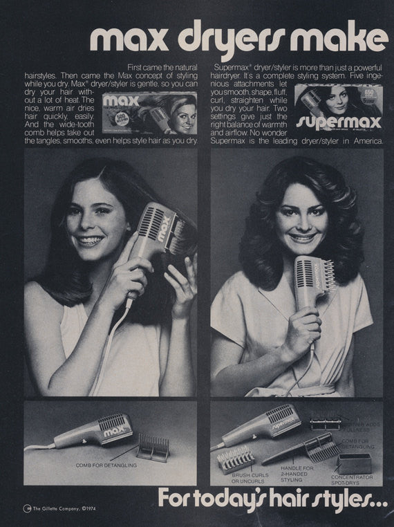 1974 Gillette Max Dryers Supermax Hair Styling Tools Vintage Advertising Print 70s Women Photos Funny Bathroom Barber Salon Wall Art Decor