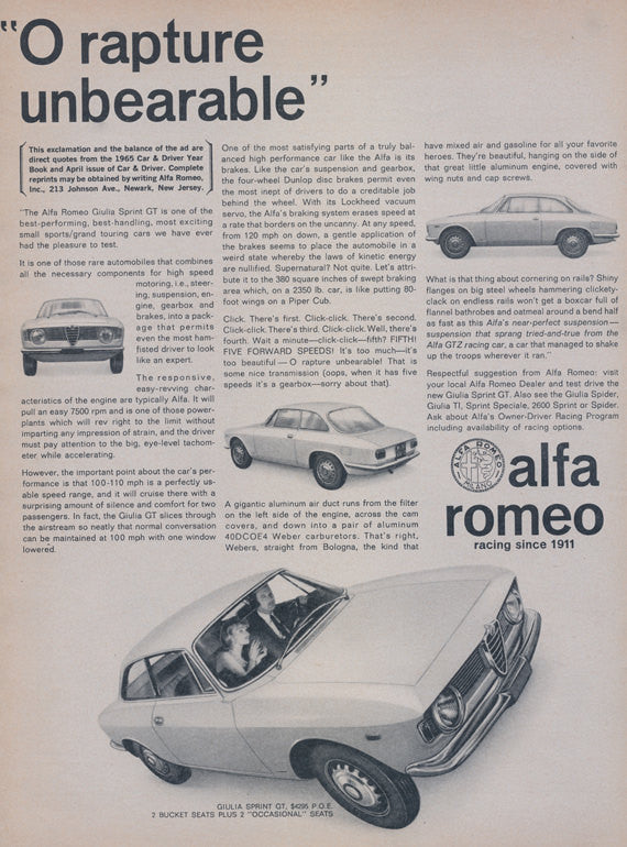 1965 Alfa Romeo Sports Car Ad Vintage Auto Advertisement Garage Wall Art Decor