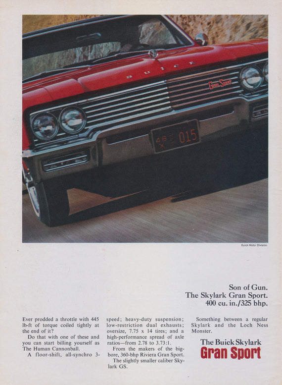 1965 Buick Skylark Gran Sport Car Photo Ad Vintage Classic Red Automobile Advertisement Garage Man Cave Wall Art Decor Print