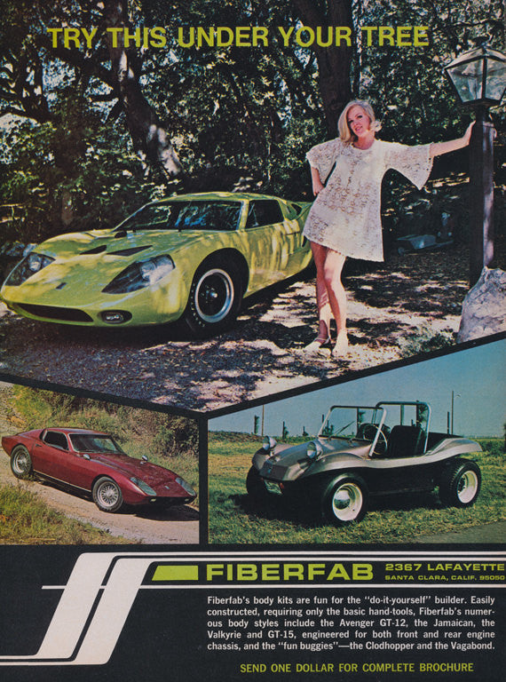 1968 Fiberfab Body Kits Holiday Ad Vintage Auto Sports Car Advertisement Man Cave Garage Wall Art Decor