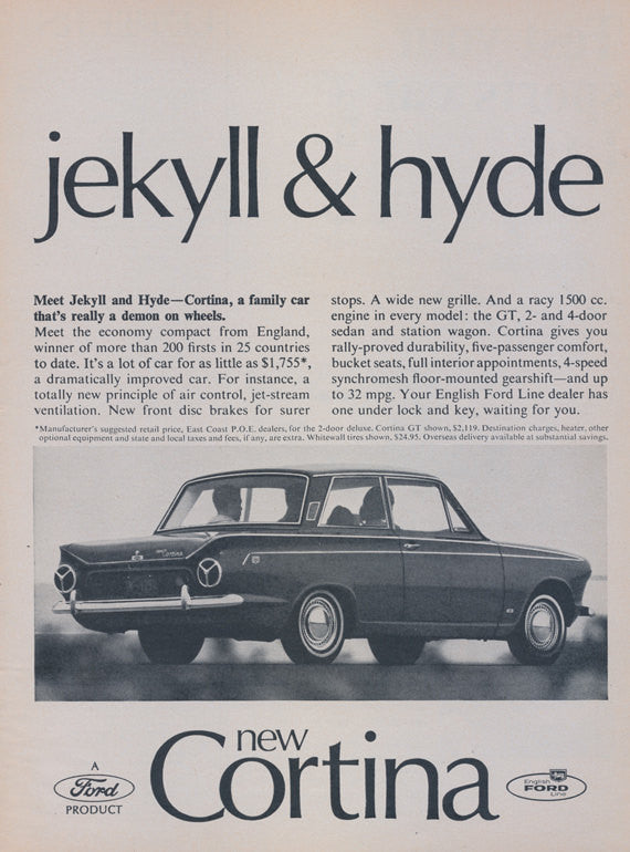"1965 Ford Cortina Car Photo Ad ""jekyll & hyde"" Vintage Auto Advertisement - Gift for Him - Garage Wall Decor Print"