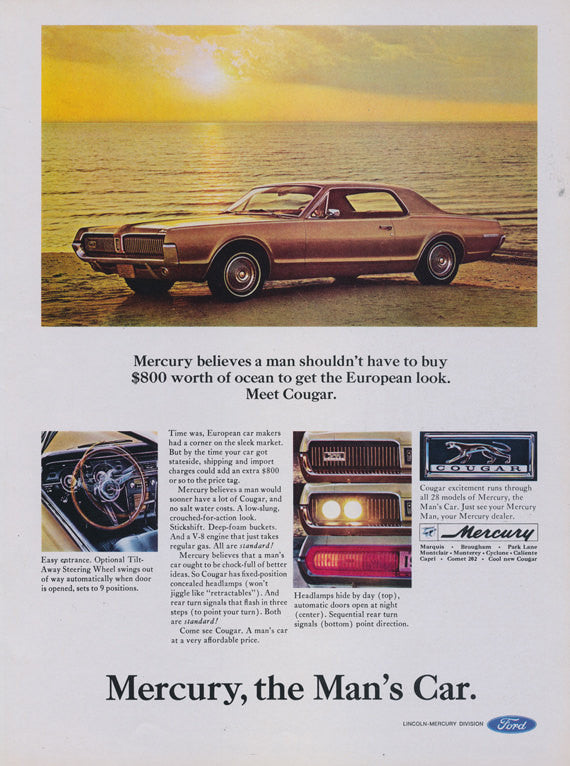 1966 Ford Mercury Cougar Car Ad Vintage Automobile Advertisement Print Garage / Man Cave Wall Decor