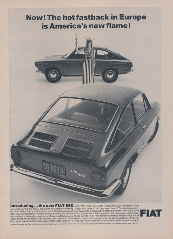1966 Fiat 850 Fastback Car Photo Ad Vintage Auto Advertisement Print Wall Art Decor