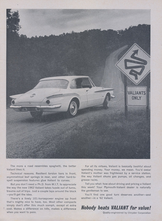 1962 Plymouth Valiant Chrysler Car Ad Curvy Road Sign Auto Photo Vintage Advertisement Garage Wall Art Decor