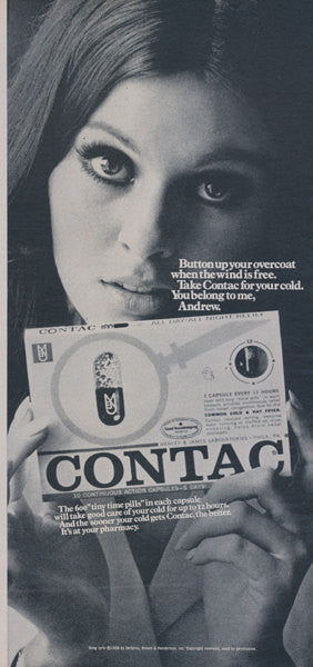 1960s Contac Cold Medicine Ad Sexy Woman Photo Doctor's Office Wall Art Decor