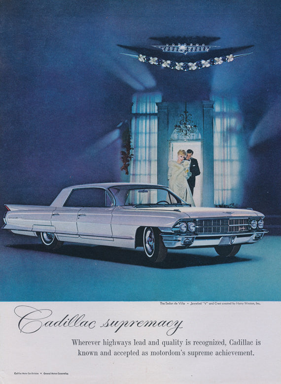 1962 Cadillac Sedan de Ville Car Ad Mad Men Era Vintage Advertising Print Wall Art Decor