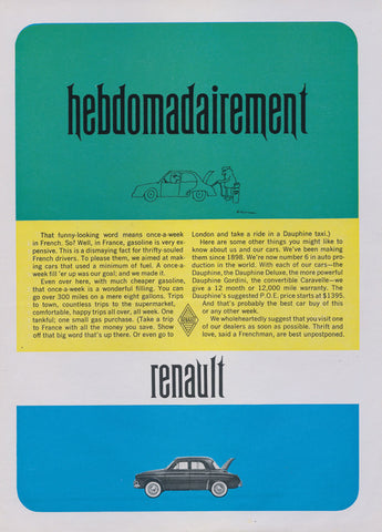 "1960s Renault Car Ad ""hebdomadairement"" Vintage Automobile Advertisement Man Cave Garage Wall Art Decor"