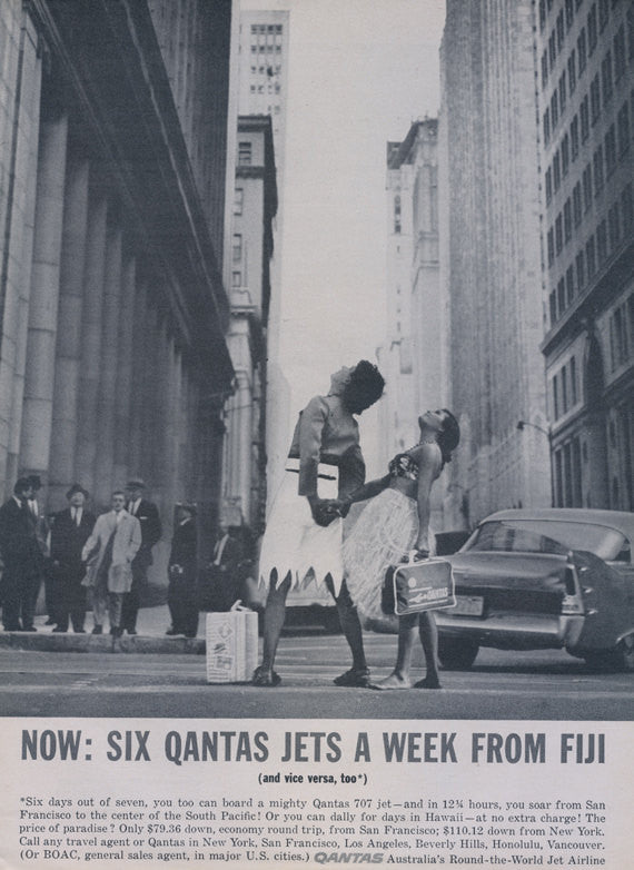 1961 Qantas Australian Airline Ad Jets Fiji Women City Photo Vintage Advertisement Print Wall Art Decor