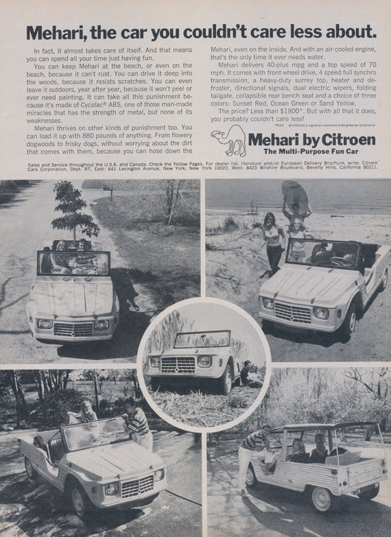 1969 Mehari Citroen Car Ad Vintage SUV Automobile Rare Vintage Advertisement Garage Wall Art Decor