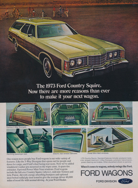 1973 Ford Country Squire Station Wagon Ad Vintage Automobile Advertisement Print Wall Art