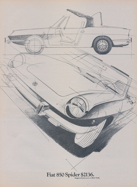 1969 Fiat 850 Spider Sports Car Vintage Print Advertisement Automobile Drawing Illustration Print Garage Wall Art Decor