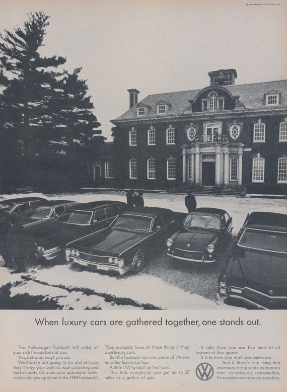 1969 VW Fastback Car Ad Luxury Cars Photo Vintage Volkswagen Advertisement Print Ad Wall Art Decor