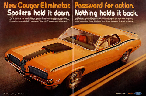1970 Ford Mercury Cougar Eliminator Muscle Car Ad Orange Automobile Vintage Advertisement Man Cave / Garage Wall Decor Print