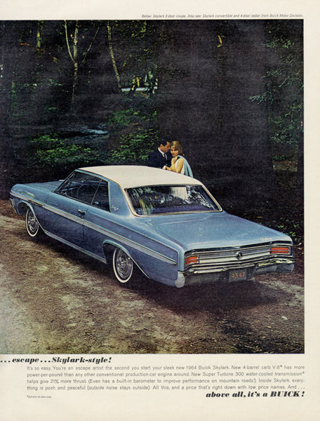 1963 Buick Skylark Classic Car Ad Vintage Automobile Advertisement Wall Art Decor Print