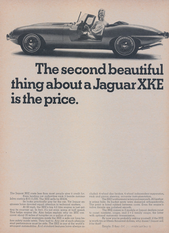 1968 Jaguar XKE Car Ad Convertible Photo Second Beautiful Thing Vintage Auto Advertisement Print Garage Wall Art Decor