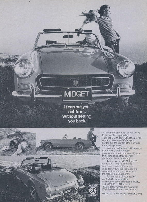1972 MG Midget Sports Car Convertible Photo Ad Vintage Auto Advertisement Garage Dealership Print Man Cave Wall Art Decor
