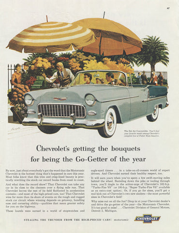 1955 Chevrolet Bel Air Convertible Vintage Chevy Auto Advertisement Art Print Mid Century America Wall Decor