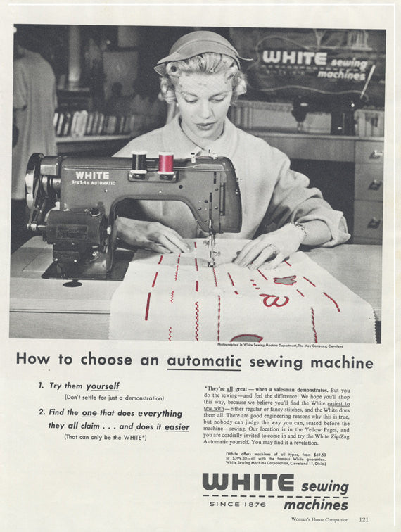 1950s White Sewing Machines Ad Woman Black & White Photo Vintage Print Advertisement Sewing Room Studio Wall Art Decor