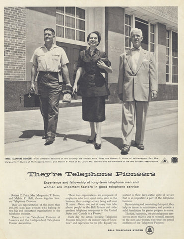1955 Bell Telephone System Ad Pioneers Workers Photo Vintage Phone Company Advertisement Black & White Print Office Wall Art Decor