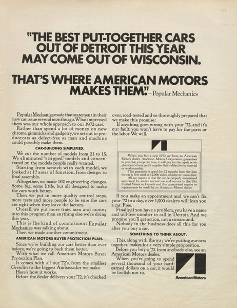 1972 Ambassador Hornet Gremlin Javelin Sportabout Matador Car Ad American Motors Vintage Automobile Advertisement Print Garage Wall Art