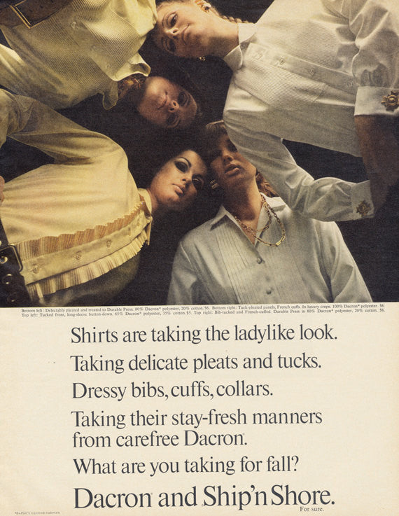 1967 Dacron and Ship 'n Shore Women's Shirts Clothing Ad Females Blouses Photo Vintage 60s Fashion Advertising Print Boutique Wall Art Decor