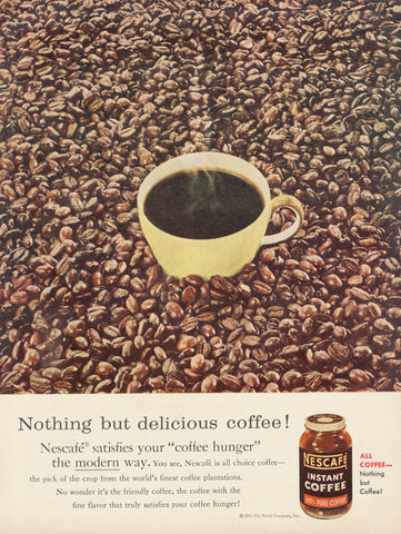 1950s Nescafe Instant Coffee Ad Vintage Advertising Retro Kitchen Wall Art Decor
