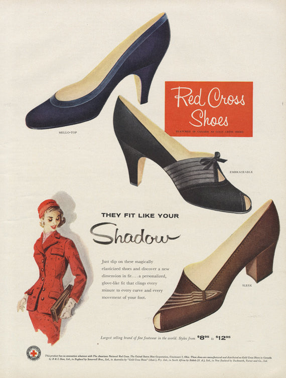 1955 Red Cross Shoes Vintage High Heels Footwear Advertisement Art Print Boutique Shop Wall Decor Print
