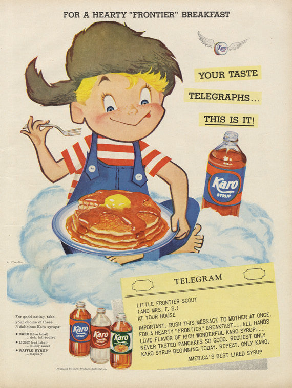"1955 Karo Syrup Ad ""Frontier Breakfast"" Boy Pancakes Telegram Illustration Vintage Food Advertisement Art Retro Kitchen Cute Wall Decor"