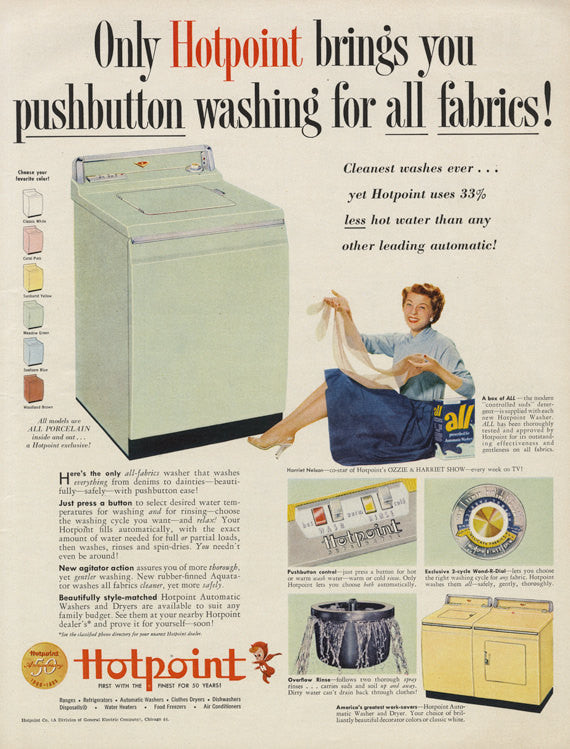 1955 Hotpoint Washing Machine Vintage Advertising Print Laundry Room Wall Art Decor