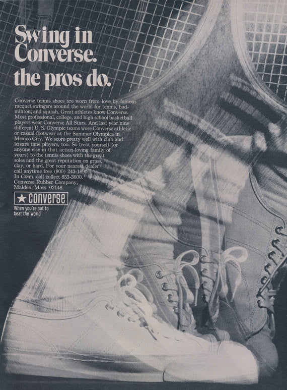 1969 Converse Tennis Shoes Ad Vintage Footwear Retro Sneakers Advertisement Print Wall Art Decor