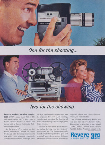 1961 Revere 3M Company 8 mm Movie Camera & Zoom Projector Vintage Advertisement Print Wall Art Decor