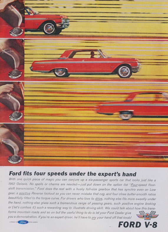"1962 Ford V-8 Galaxie Car Ad ""Four Speeds"" Vintage Advertising Print Garage Wall Art Decor"