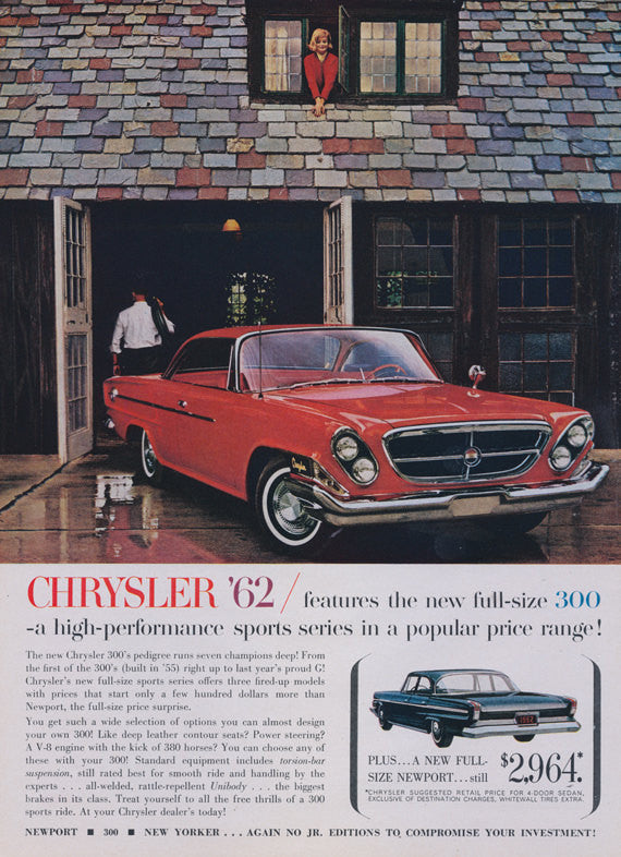 1962 Chrysler 300 Car Photo Ad Mad Men Era Vintage Advertising Art Garage Wall Decor Print