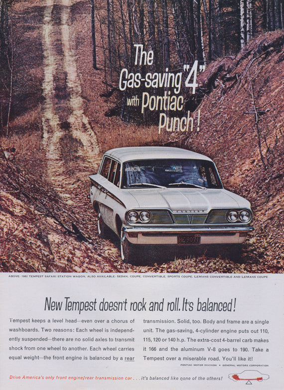 1962 Pontiac Tempest Safari Station Wagon Ad Vintage Car Advertisement Wall Art Decor Print