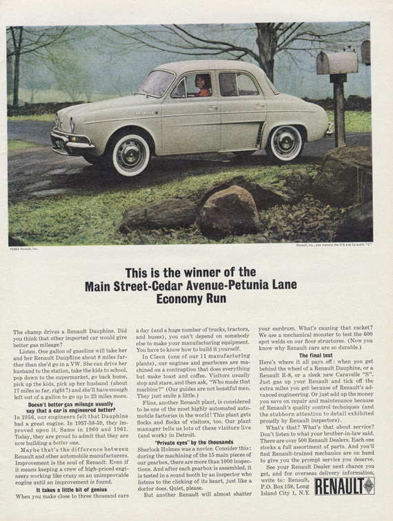1963 Renault Dauphine Classic Car Photo Vintage Automobile Advertisement Wall Art Decor Print