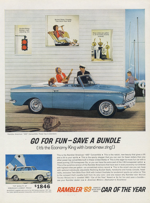 1963 Rambler American 440 Blue Convertible Photo Ad Vintage Automobile Advertisement Garage Wall Art Decor