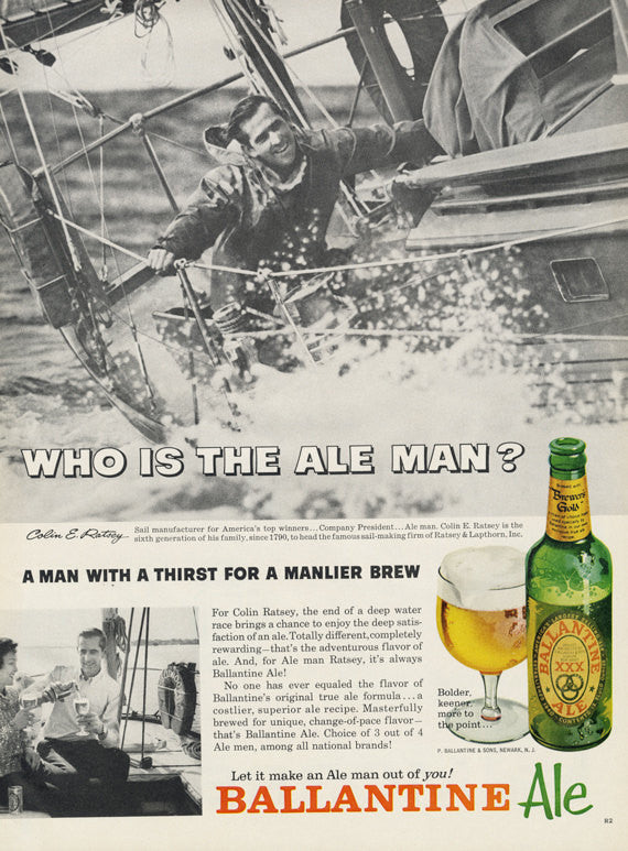 1963 Ballantine Ale Beer Ad Colin Ratsey Sailing Photo Vintage Alcohol Advertisement Bar / Man Cave Wall Art Decor
