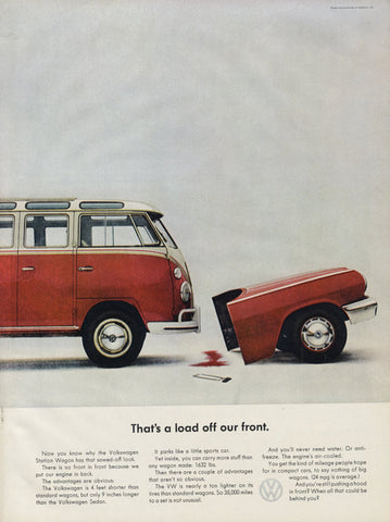 "1963 Volkswagen Station Wagon VW Van Vintage Advertisement ""That's a load off our front"" Print Wall Art Decor"