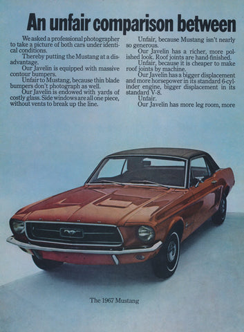 1967 Ford Mustang & 1968 Javelin SST American Motors Car Ad Vintage Auto Advertisement 2-Page Wall Art Decor Print