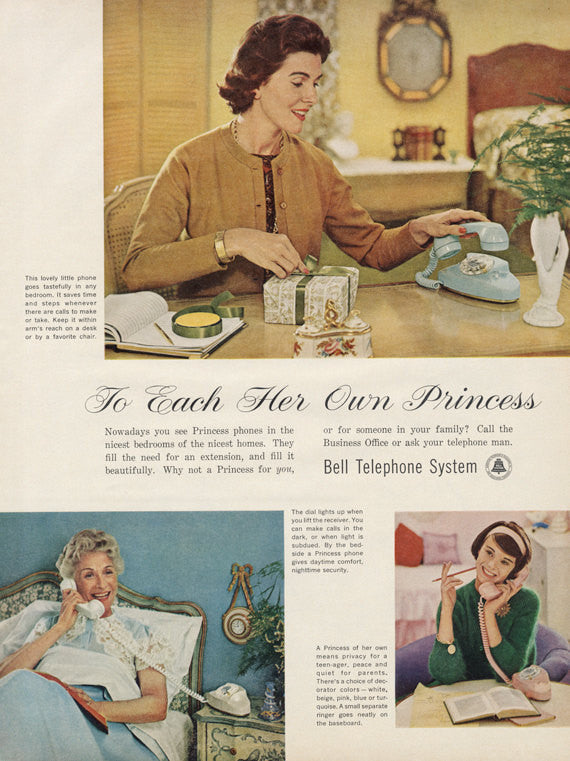 1961 Bell Telephone System Ad Princess Phone Vintage Advertisement Print Wall Art Decor