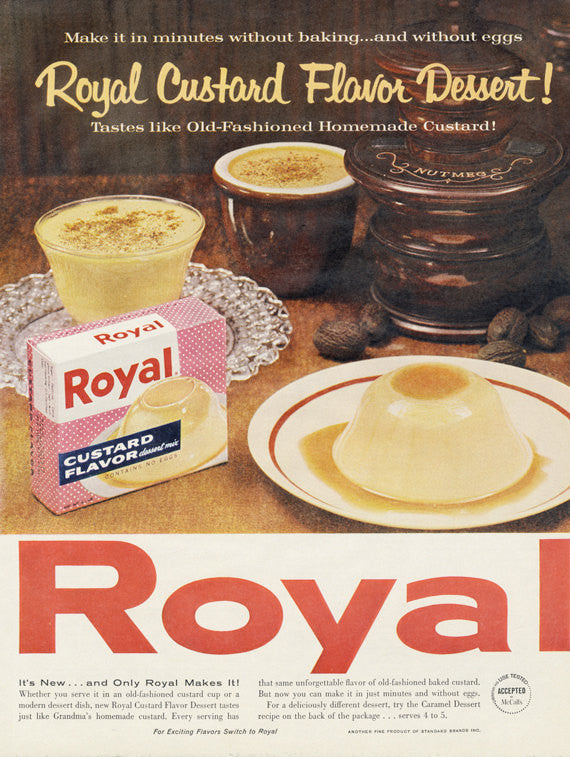 1961 Royal Custard Vintage Ad Flan Dessert Photo Print Advertisement Bakery / Kitchen Wall Art Decor