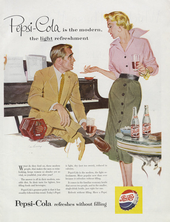 1954 Pepsi Cola Ad Vintage Soda Pop Advertisement Art 1950s Couple Illustration Collectible Print Wall Art Decor