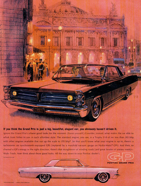 1963 Pontiac Grand Prix Classic Car Ad Automobile Illustration Art Print Red Wall Art Decor